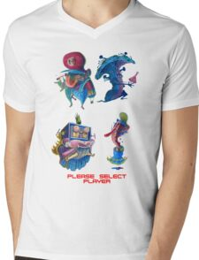 "Super Mario Bros 2 Collection ""Please Select Player"" Mens V-Neck T-Shirt"