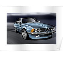 Poster artwork - BMW 635 CSI in pale blue Poster
