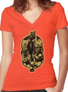 Money Talks Women's Fitted V-Neck T-Shirt