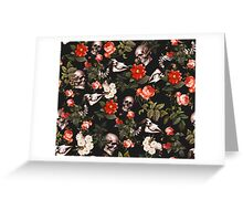 Skull and Floral Pattern Greeting Card