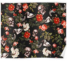 Skull and Floral Pattern Poster