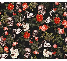 Skull and Floral Pattern Photographic Print