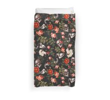 Skull and Floral Pattern Duvet Cover
