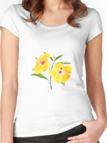 yellow hibiscus watercolor painting  Women's Fitted Scoop T-Shirt