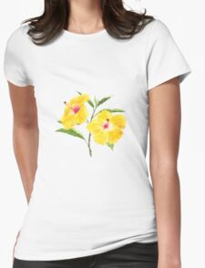 yellow hibiscus watercolor painting  Womens Fitted T-Shirt