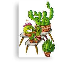 cacti interior outline Canvas Print