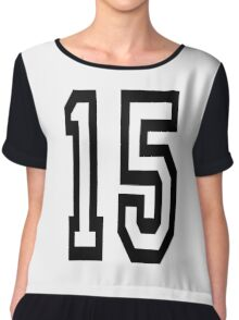 15, TEAM SPORTS, NUMBER 15, FIFTEEN, FIFTEENTH, Competition,  Chiffon Top