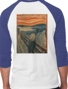 The Scream, Edvard Munch, Man at bridge holding head with hands and screaming. on BLACK Men's Baseball ¾ T-Shirt