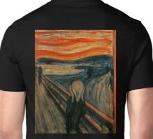 The Scream, Edvard Munch, Man at bridge holding head with hands and screaming. on BLACK Unisex T-Shirt