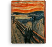 The Scream, Edvard Munch, Man at bridge holding head with hands and screaming. on BLACK Canvas Print