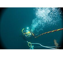 Diver on shot rope reached lazy shot! Photographic Print