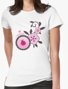 Miraculous Ladybug / Marinette Dupain-Cheng - Pink polka dot flower design Womens Fitted T-Shirt