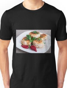 Close Up view on rissole of minced chicken on a white plate Unisex T-Shirt