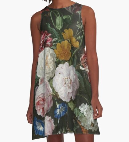 Still Life with Flowers in a Glass Vase A-Line Dress