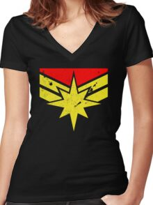 Distressed Super Heroine Women's Fitted V-Neck T-Shirt