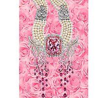 Barbie Pink Diamond Rose Pearls Print Photographic Print