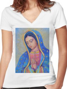 Our Lady of Guadalupe for sale, Vergin de Guadalupe Women's Fitted V-Neck T-Shirt