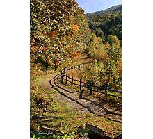 Broken Fence Rail beside a Path Photographic Print