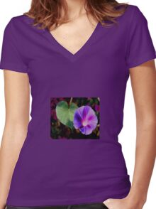 Beautiful Single Morning Glory Flower and Leaf Women's Fitted V-Neck T-Shirt
