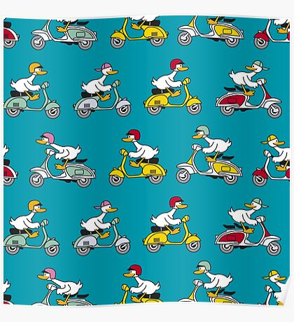 Ducks on scooter Poster