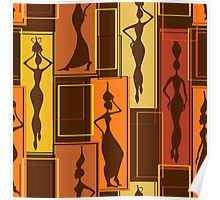 African Water Girl Pattern Poster