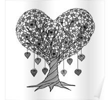 Tree of Hearts in Black and White Poster