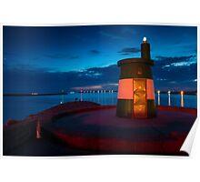 Stunning night seascape in Praia da Barra Aveiro Portugal Poster