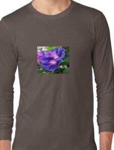 A Pair of Vibrant Morning Glories In Full Bloom Long Sleeve T-Shirt
