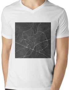 Ghent, Belgium Map. (White on black) Mens V-Neck T-Shirt