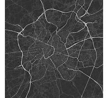 Brussels, Belgium Map. (White on black) Photographic Print