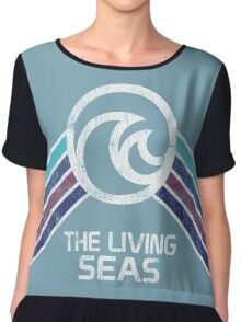 The Living Seas Distressed Logo in Vintage Retr Style Chiffon Top