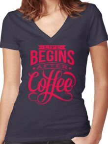 Coffee Quote Women's Fitted V-Neck T-Shirt