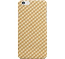 White and Brown Checkered Tablecloth Fabric Design iPhone Case/Skin