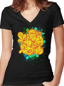 Doodle Blood Women's Fitted V-Neck T-Shirt