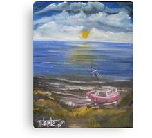 Beached Fishing Boat at Low Tide Canvas Print