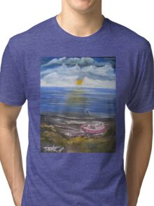 Beached Fishing Boat at Low Tide Tri-blend T-Shirt