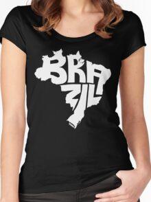Brazil White Women's Fitted Scoop T-Shirt