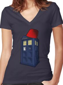 Tardis with a Fez Women's Fitted V-Neck T-Shirt
