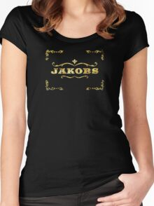 Jakobs gold leaf design  Women's Fitted Scoop T-Shirt