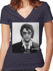 Elvis - Mug Shot Women's Fitted V-Neck T-Shirt