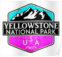 YELLOWSTONE NATIONAL PARK WYOMING MOUNTAINS HIKING CAMPING HIKE CAMP PINK Poster