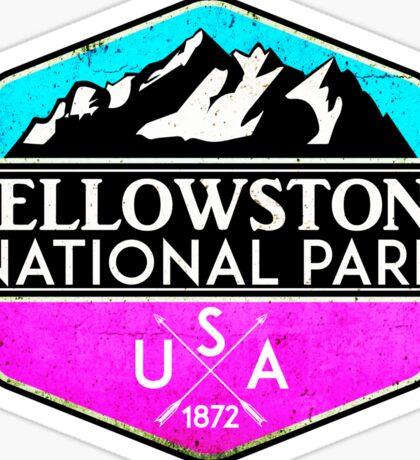 YELLOWSTONE NATIONAL PARK WYOMING MOUNTAINS HIKING CAMPING HIKE CAMP PINK Sticker