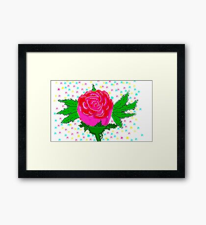 painting rose pink red Framed Print
