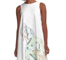 Dress with a sleeping girl and her deer A-Line Dress