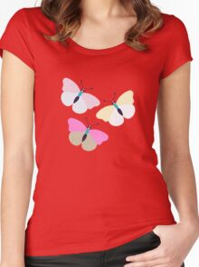 Flower and Butterfly Women's Fitted Scoop T-Shirt