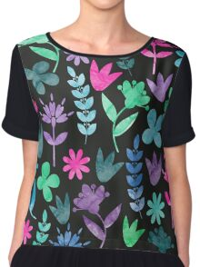 Flower Pattern V Chiffon Top