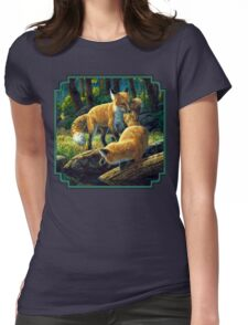 Red Fox Pups Playing Womens Fitted T-Shirt