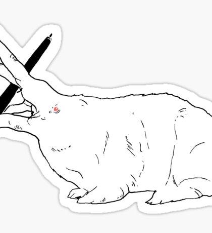 Hillary White Rabbit Sticker