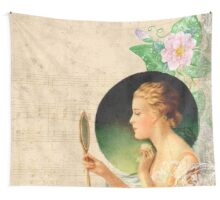 victorian young beautiful lady looking into the mirror,vintage collage Wall Tapestry
