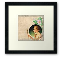 victorian young beautiful lady looking into the mirror,vintage collage Framed Print